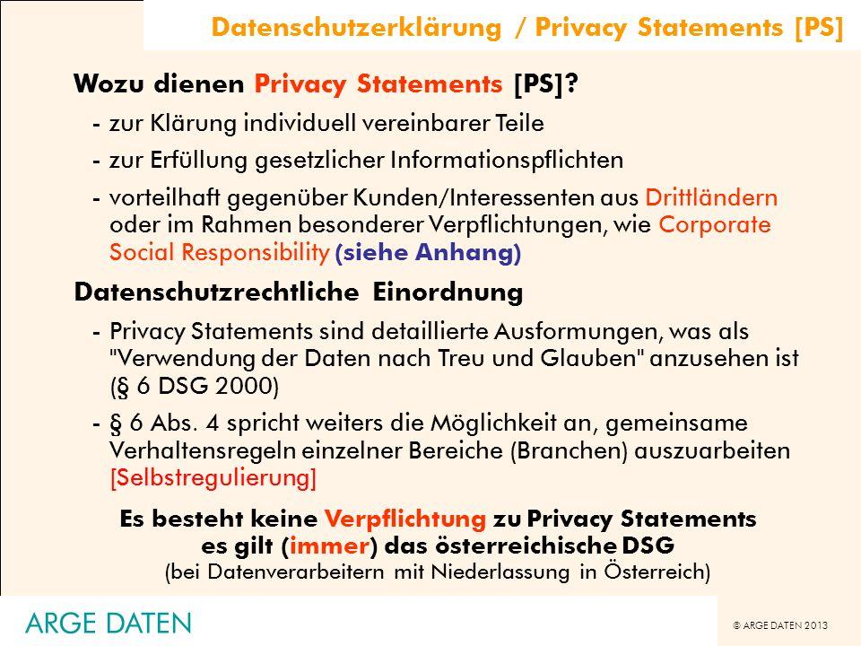 ARGE DATEN Datenschutzerklärung / Privacy Statements [PS]